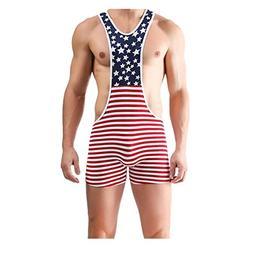 Inverlee Men American Flag Wrestling Singlet Gym Underwear B