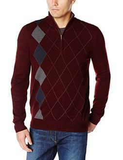 Haggar Men's Asymmetrical Argyle Quarter Zip Sweater, Burgun