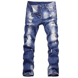 B Dressy 2018 New Style Hole Patch Beggars Slim Men Jeans Pa