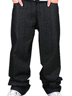Ruiatoo Men's Boy Baggy Loose Fit Hip Hop Black Denim Long C