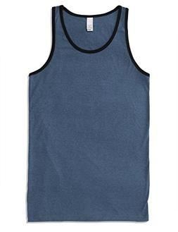 JD Apparel Mens Men's Basic Athletic Jersey Tank Top Contras