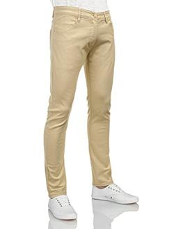 IDARBI Mens Basic Casual Color Skinny Cotton Twill Pants BEI