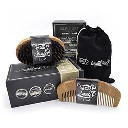 Beard Comb & Brush - SET - for Men, Sandal Wood COMB, 100% N