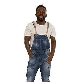 Mens Bib Down Overalls – Stonewash Denim Slim Fit Destroye