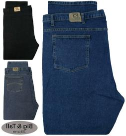 Big & Tall Men's Denim Jeans STRETCH Fabric Relaxed Fit Wais