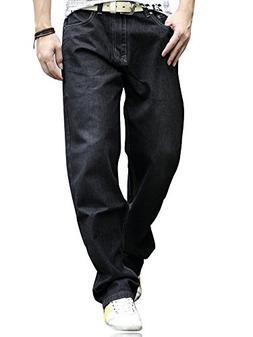 YOYEAH Men's Fashion Big Soft Loose Straight-Leg Jeans 40 Bl