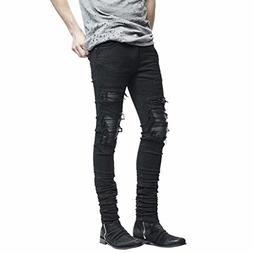 Big Promotion! Men Pants WEUIE Men's Stretchy Ripped Skinny
