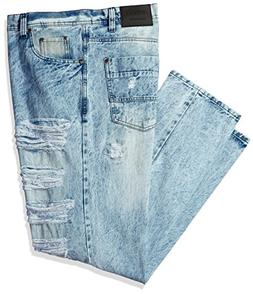 Southpole Men's Big and Tall Denim Pants Long Destructed Rip