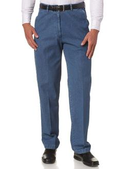 Haggar Men's Big-Tall No Iron Denim Plain Front Pant,Cadet B