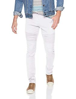 Southpole Men's Biker Flex Twill Jeans, White, 34X34