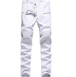 Men's White Biker Jeans Slim Straight Stretch Skinny Fit Mot