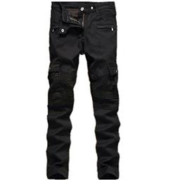 Men's Black Biker Jeans Slim Straight Stretch Skinny Fit Mot