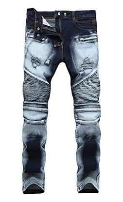 FEESON Men's Biker Moto Washed Ripped Destroyed Distressed S
