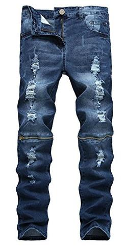 18092aa6e4f By IA ROD CA. USD $28.21. ZhouYCHEN Men's Biker Skinny Fit Ripped Distressed  Destroyed