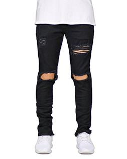 DEITP Men's Black Distressed Destroyed Ripped Slim Fit Skinn