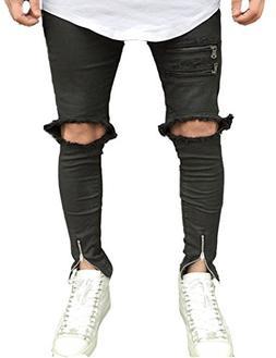 Men's Black Skinny Fit Ripped Jeans Slim Open Holes Pants wi