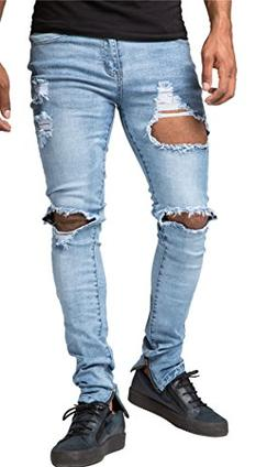 Men's Blue Ripped Destroyed Jeans Skinny Fit Distressed Hole