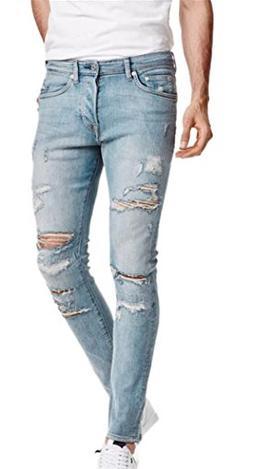 OKilr Pjik Men's Blue Skinny Ripped Destroyed Slim Fit Jeans