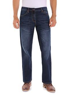 Indigo alpha Elastic Straight-Fit Classic Jean for Men,Blue,