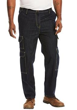 Liberty Blues Men's Big & Tall Side-Elastic Cargo Pants, Dar