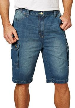 Liberty Blues Men's Big & Tall Denim Cargo Shorts, Blue Wash