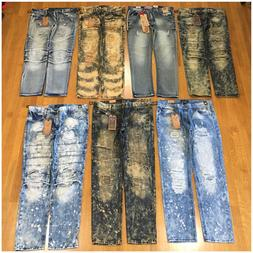 Brand New Mens Size 42 Fashion Denim Moto Rips Acid Wash Ble