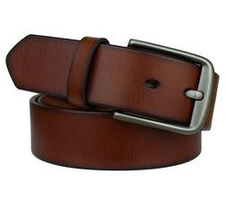 Bullko Men's Casual Genuine Leather Dress Belt With Jeans Cl