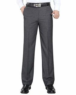 Wxian Men's Business High Waist Straight Linen Dress Pants
