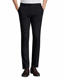 Wxian Men's Business Work Slim Fit Flat-Front Polyester Dres