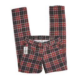 RUDE BY HOT TOPIC MENS RED PLAID SKINNY JEANS
