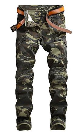 Plaid&Plain Men's Camo Stretch Skinny Jeans Slim Tapered Bik