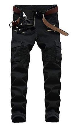 OKilr Pjik Men's Carge Style Multi-Pocket Jeans Slim Fit Tro