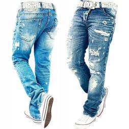 Casual Designer Men Jeans Pants Holes Ripped Skinny Fit Dest