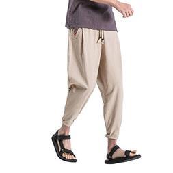 WUAI Men's Casual Elasticity Casual Pants Drawstring Linen P