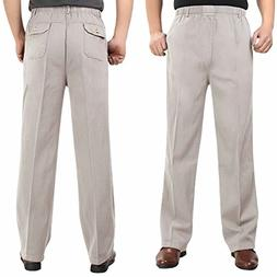 Wxian Men's Casual Loose Elastic Waist 100% Cotton Pants