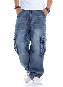 Kedera Men's Casual Loose Hip Hop Denim Work Pants Jeans Wit