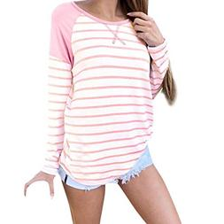 POHOK Women Casual Loose Striped Long Sleeve O-Neck T Shirts