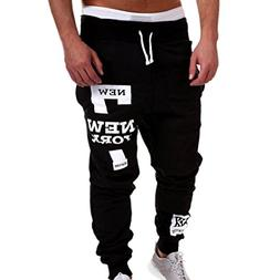Men Casual Pants,Lelili Fashion New York Letter Printed Draw