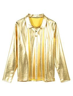 JINIDU Men's Disco Shirt Long Sleeve Shiny Metallic Gold Sil
