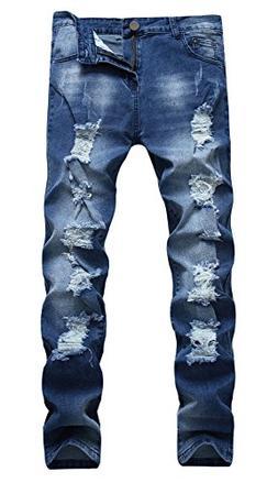 OKilr Pjik Men's Washed Dark Blue Stretch Distressed Slim Fi