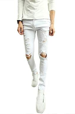 OUYE Men's Casual Skinny Ripped Jeans XX-Large White