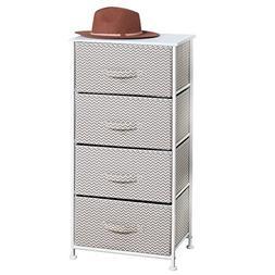 mDesign Chevron Fabric 4-Drawer Storage Organizer Dresser fo