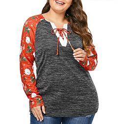 ANJUNIE Christmas Shirts for Women Plus Size Long Sleeve San