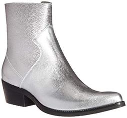 CK Jeans Men's Alden Tumbled Leather Fashion Boot, Silver, 9