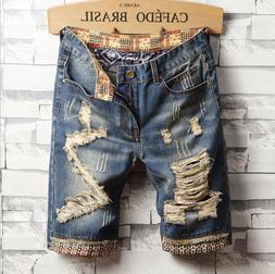 Classic Fashion Men Summer Straight Slim Short Jeans Pants D