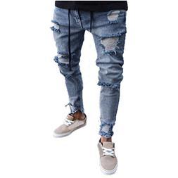 WUAI Clearance Men's Destroyed Holes Jeans Taped Slim Fit De
