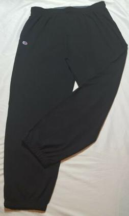 Hanes P7310 Mens Closed Bottom Jersey Pants, Black - Large