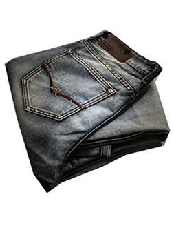 DUJUANNIAO Men Retro Jeans Nostalgia Straight Denim Jeans Pl