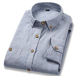 100% Cotton Striped Men Shirts Spring Long Sleeve Casual Shi