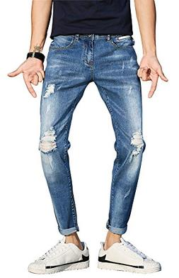 Plaid&Plain Men's Cropped Jeans Knee Ripped Jeans Men's Dist